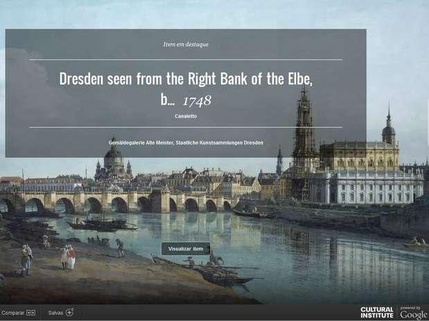 """Dresden seen from right bank of the Elbe, below the Augustus Bridge, de Bernardo Bellotto - conhecido pelo pseudônimo de seu tio, """"Canaletto"""" Foto: Reprodução"""