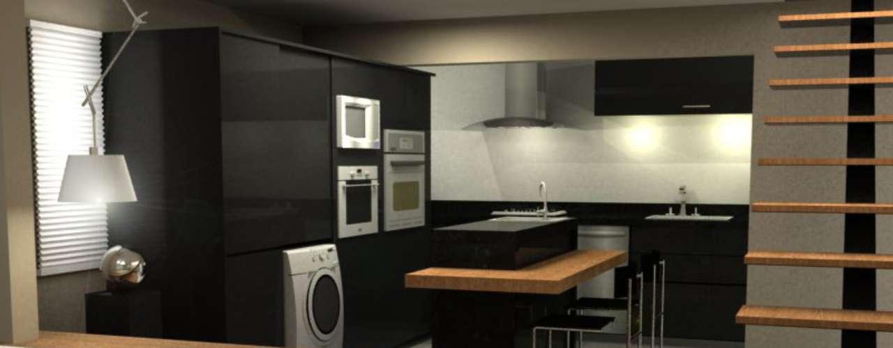 Neste projeto, os arquitetos Alexandre Fantin e Eduardo Siqueira conseguiram colocar uma churrasqueira a gás, grande novidade do mercado, em uma cozinha de um loft de 88m2. Informações: (11) 3841-9854