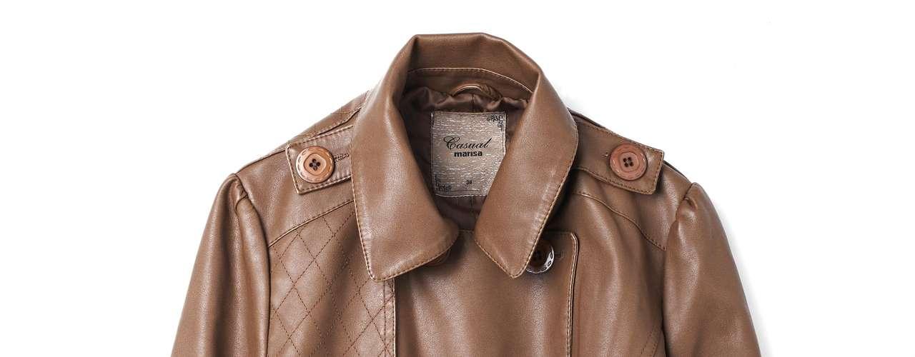 Jaqueta de couro marrom Marisa, R$129,99. Serviço: Capitais - 40042211, demais localidades - 08007281122