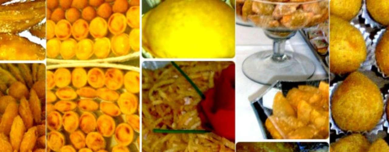 A cor amarela prevalece na colagem de fotos de doces e salgados enviada por Hilton Lombarin