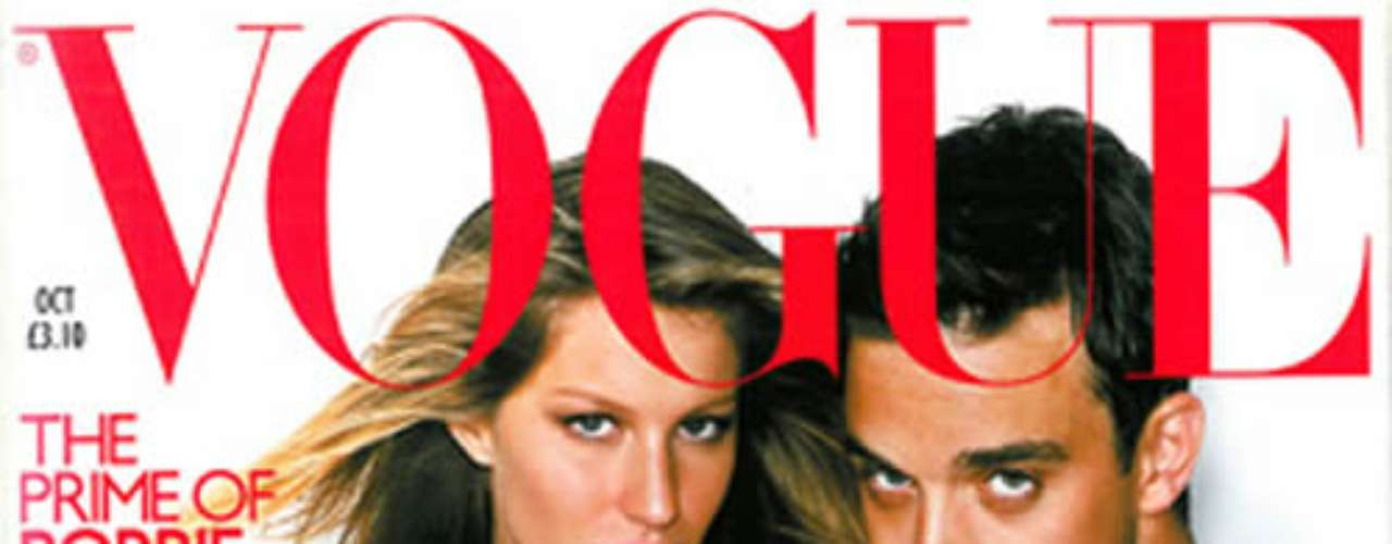 Gisele Bündchen aparece ao lado de Robbie Williams em fotos provocantes na capa da edição de outubro da Vogue inglesa, em 2000