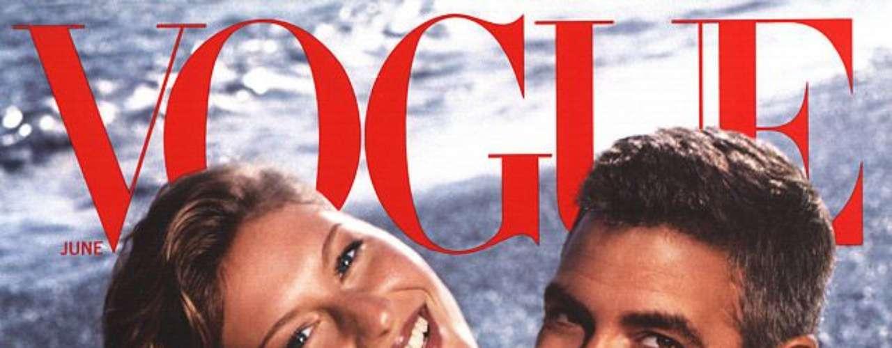 Em junho de 2000, Gisele estampou uma das mais icônicas capas da Vogue americana, ao lado de George Clooney