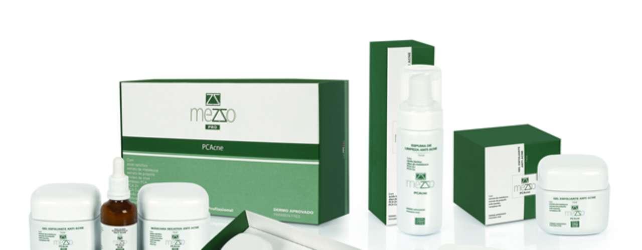 Linha antiacne da Mezzo Dermocosméticos utiliza óleo de melaleuca em sua composição. Kit contém: gel esfoliante (R$87,14), gel hidratante (R$52,29), espuma de limpeza (R$ 66) e sabonete vegetal (R$11,10)