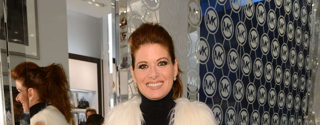 A atriz Debra Messing na loja de Michael Kors durante o Fashion's Night Out