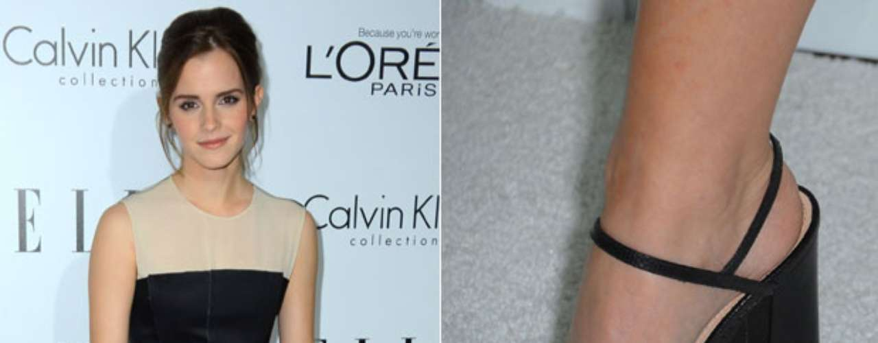 A atriz inglesa Emma Watson escolheu esmalte cinza para os pés e claro para as mãos