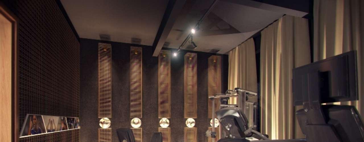 O projeto SPA e Fitness, de Fabiano Hayasaki e Tania Hayasaki, foi inspirado no ex-jogador de futebol Marcelo Bordon. O espaço traz um design inovador, com revestimento nas paredes em tela metálica dourada e móveis criados pelos profissionais em tela de aço dourado