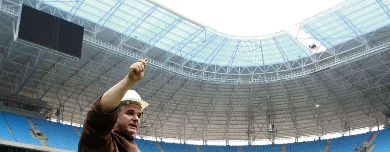 Ritual foi realizado no gramado da Arena do Grêmio nesta sexta-feira, em Porto Alegre