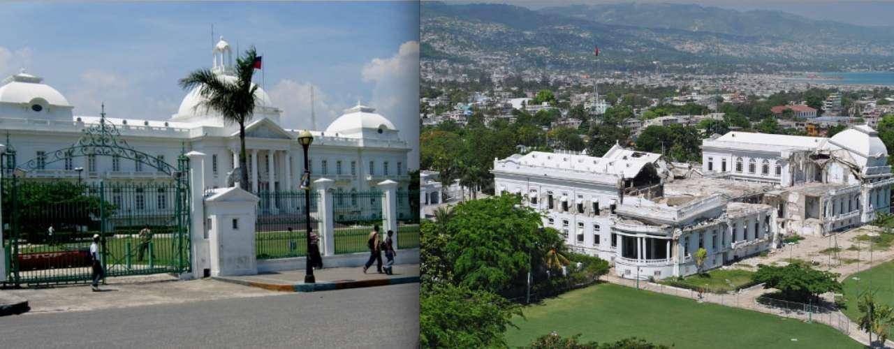 Palácio Presidencial, Port-au-Prince, Haiti:o Palácio Presidencial foi uma das estruturas mais bonitas entre as muitas que foram derrubadas pelo violento terremoto que assolou o Haiti em 2010. Construído em 1918, o Palácio era um belo cartão-postal de Port-au-Prince todo pintado de branco e com três cúpulas, e começou a ser recuperado neste ano após sua destruição