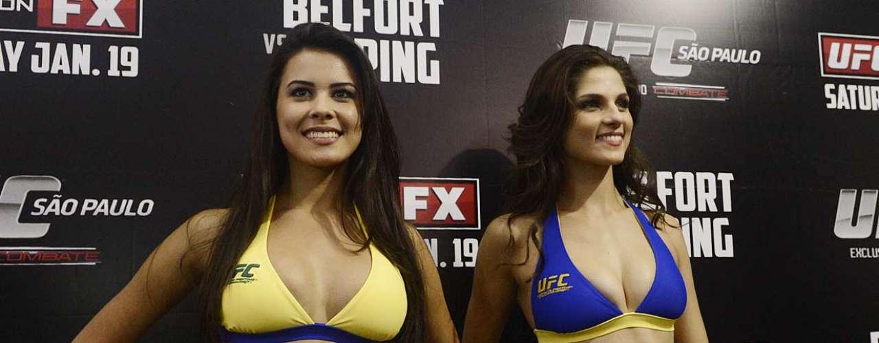 As modelos Aline Franzoi e Camila Oliveira serão as primeiras ring girls brasileiras do UFC. Elas trabalharão no evento deste sábado, no Ginásio do Ibirapuera, mas foram apresentadas para o público na pesagem desta sexta