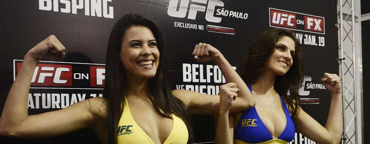 Aline e Camila fizeram gestos dos lutadores e disseram estar prontas para o UFC São Paulo