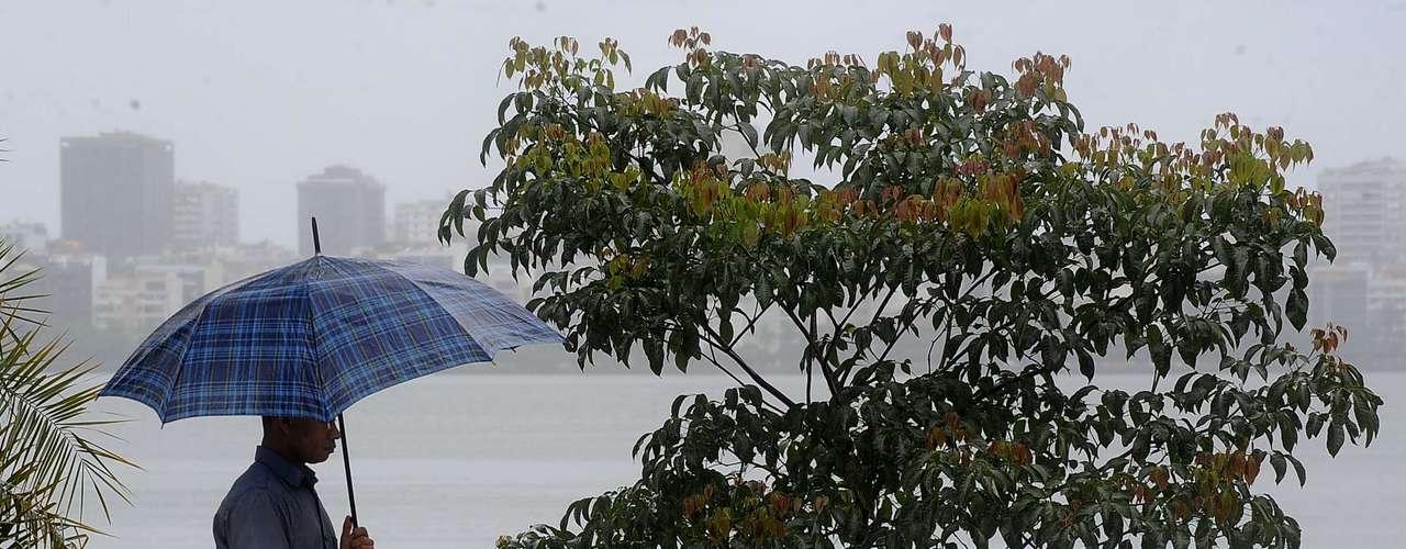 Mau tempo provocou transtornos na região da lagoa Rodrigo de Freitas