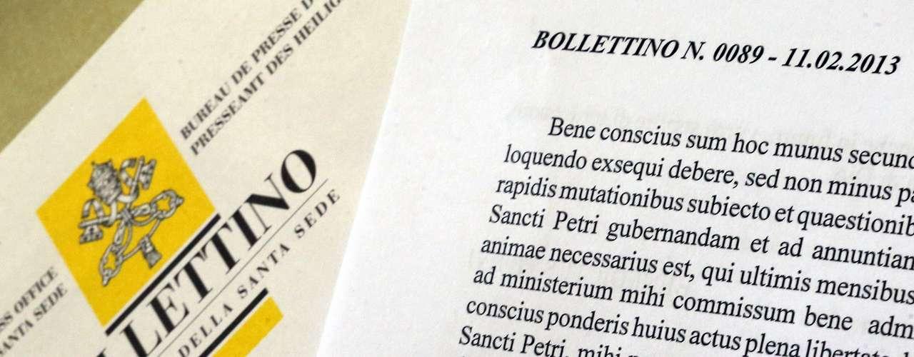 Boletim oficial com o comunicado da renúncia do papa Bento XVI