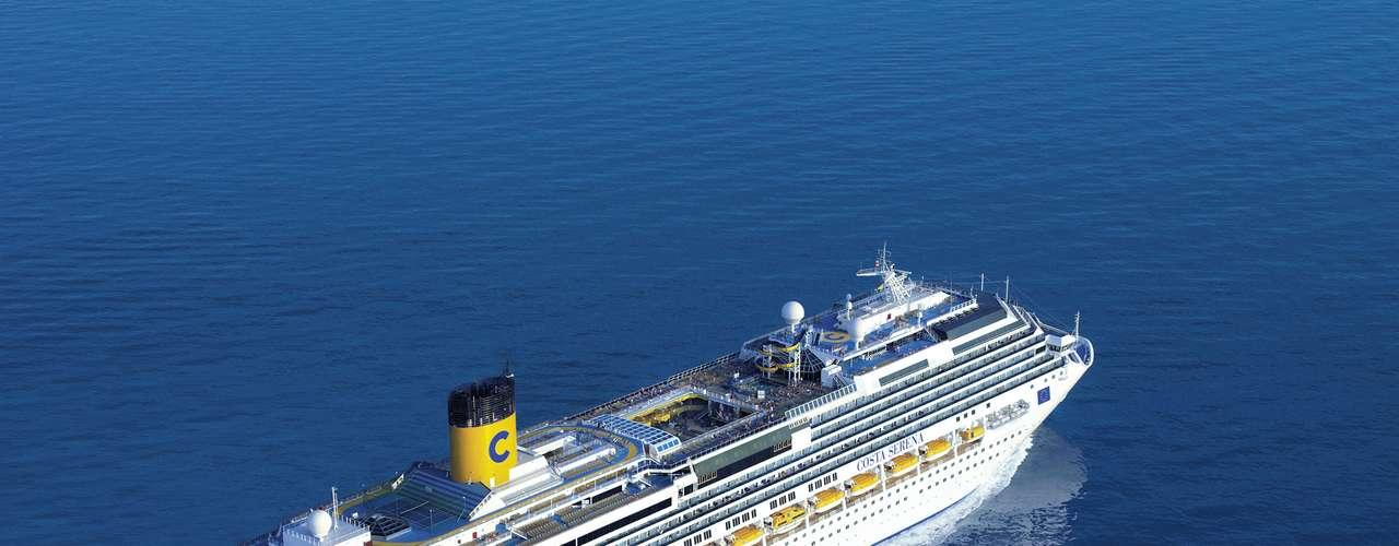 Costa Serena  Com partida de Santos em 26 de março, o navio da Costa Cruzeiros fará um roteiro de 15 dias até Málaga, na Espanha, passando pela região da Madeira, em Portugal