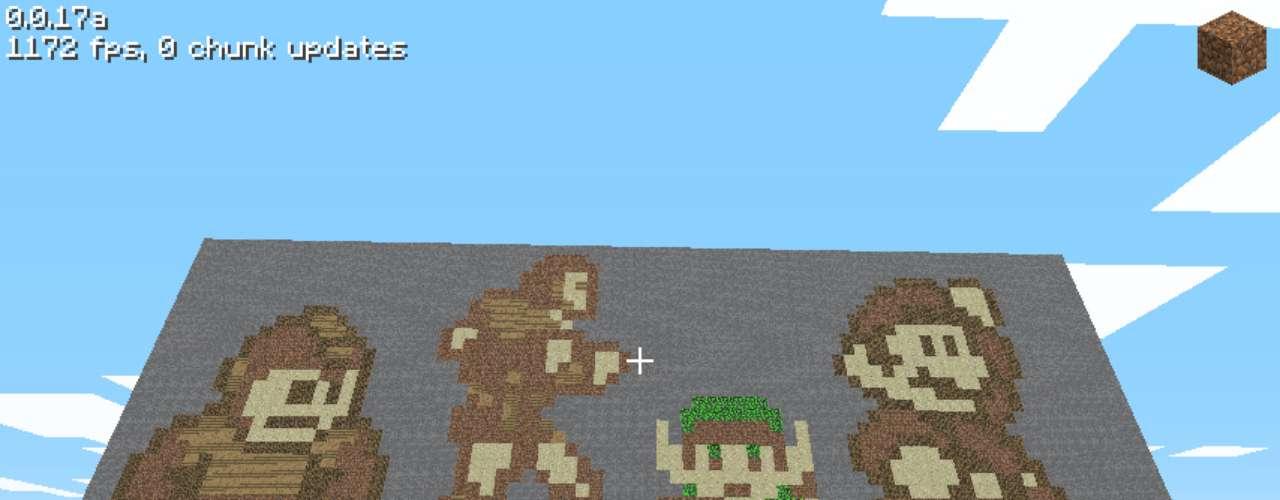 Este criou um painel com os personagens da Nintendo Megaman,Simon Belmont ('Castlevania'), Link ('Zelda') e Mario