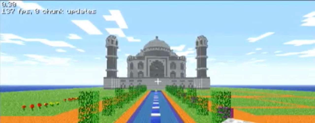 Considerada uma das Novas Sete Maravilhas do Mundo Moderno, o paláciodeTaj Mahal, na Índia, não foi esquecido em 'Minecraft'