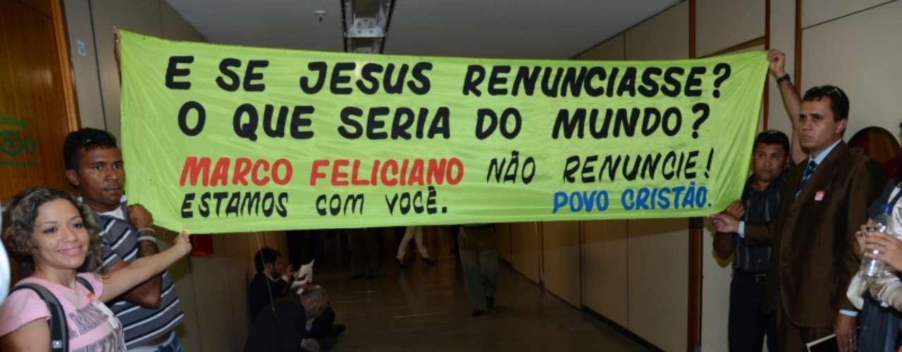 Manifestantes demonstraram apoio ao deputado Marco Feliciano (PSC-SP)