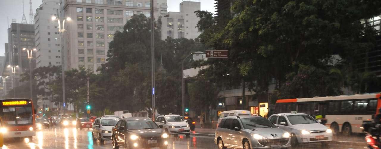 26 de março Por conta da passagem de nuvens carregadas, motoristas tiveram de acender os faróis de carro à tarde na avenida Paulista