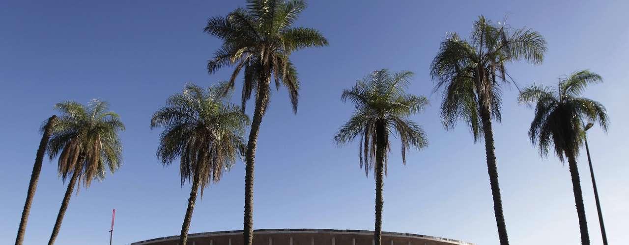 8 de abril de 2013: em novo estádio, pilares da estrutura externa dão aspecto característico à construção