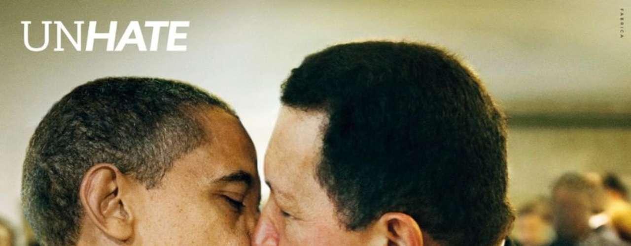 Internautas também usaram uma montagem criada em uma campanha da Benetton para protestar contra Feliciano - na foto, o presidente americano, Barack Obama, beija o ex-presidente venezuelano, Hugo Chávez