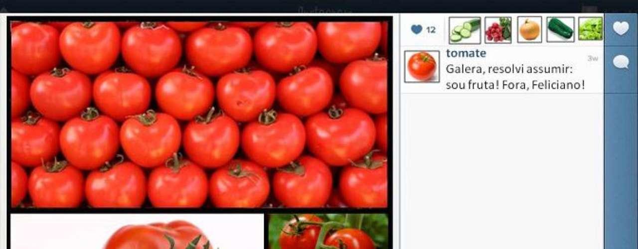 Em brincadeira, um tomate 'diz' no Facebook que resolveu assumir que é 'fruta': 'fora, Feliciano!'