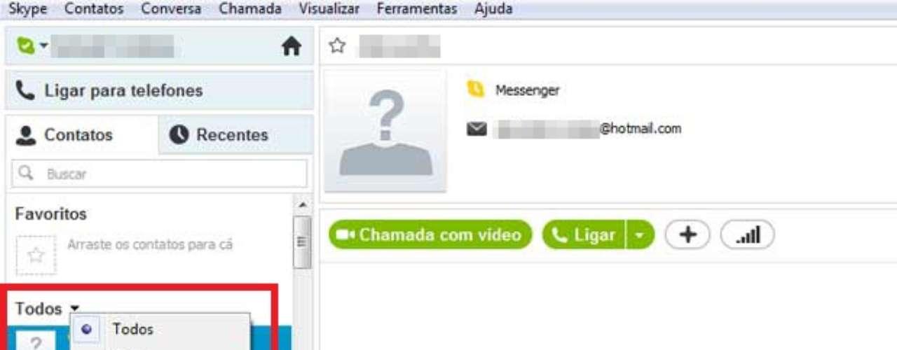É possível filtrar os seus contatos em grupos. Os amigos do Messenger, por exemplo, já forammigrados em um grupo separado. Para ver só um grupo de contatos, basta clicar em todos e fazer a alteração