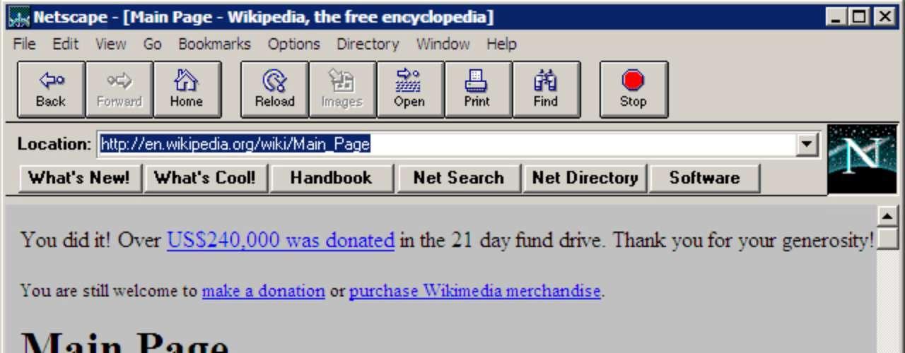 O Netscape Navigator, conhecido simplesmente como Netscape, foi um dos primeiros navegadores com interface amigável para o usuário navegar na internet. Lançado em 1994, o browser era baseado no Mosaic - que estreou a categoria de programas para visualização da web - e podia ser usado gratuitamente por usuários não comerciais