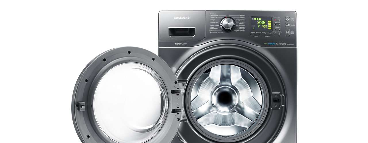 Lave e seca que conserva tecidos Com capacidade de 10 kg, a lava e seca Front Load WD106, da Samsung, possui tecnologia EcoBubble, que garante a conservação do tecido por mais tempo ao misturar a água ao sabão antes do contato com as roupas. Essa função amplia em 40 vezes a velocidade de absorção do sabão e redução de até 70% no consumo de energia. O modelo ainda possui função Air Wash para lavagem a seco. Preço sugerido: R$ 3.299. Informações: 4004-000 (capitais e regiões metropolitanas) e 0800-124-421 (demais localidades)