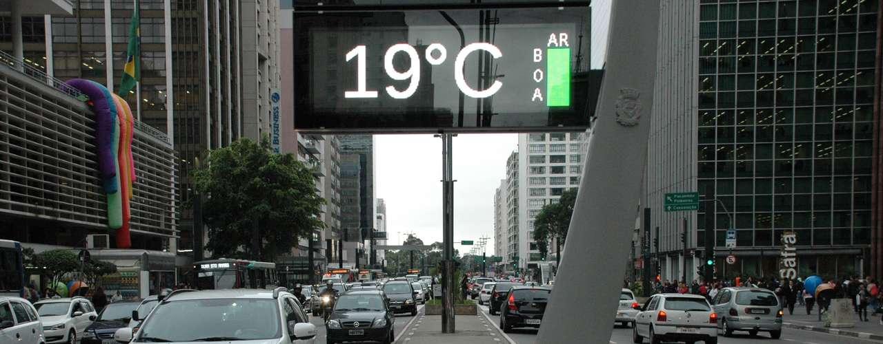 24 de maio - Com, 18,3°C, acidade de São Paulo teve a tarde mais fria do ano nesta sexta-feira; termômetro na avenida Paulista chegou aos 19°C