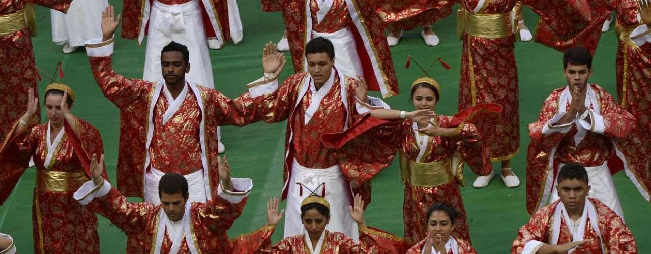 O Japão foi representado nas cores branco, vermelho e dourado