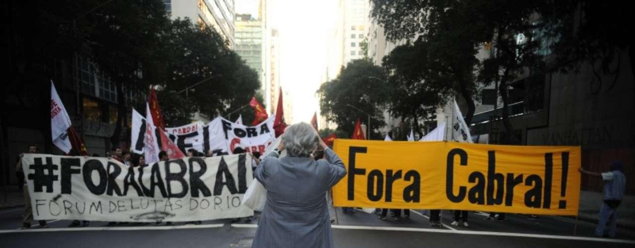 8 de agosto -Manifestantes pedem a saída do governador fluminense Sergio Cabral