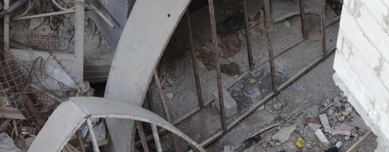 Cão morto é visto em meio a prédios de Ain Tarma