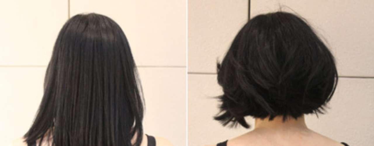"""Valéria, 35 anos, já tinha os fios relativamente curtos, mas queriamodernizar o visual com um corte ainda mais radical. """"Queria cortar, mas estava com medo de não combinar com meu rosto"""", disse antes de passar pelas mãos do cabeleireiro Rodrigo Cintra, profissional com 21 anos de experiência"""