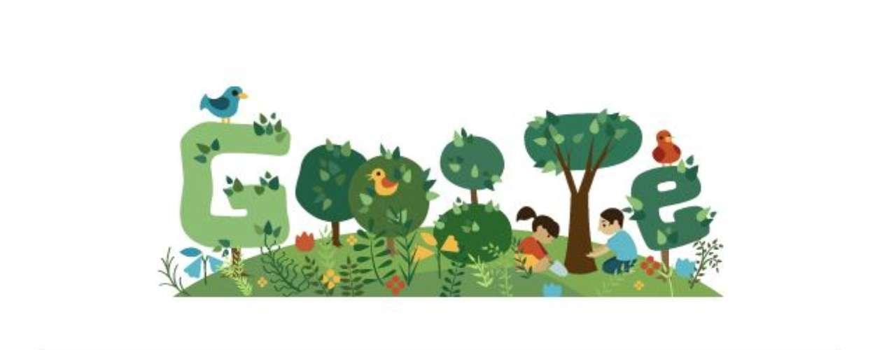 21 de setembro -O Dia da Árvore recebeu uma homenagem do Google com um doodle animado, que mostra duas crianças cultivando uma árvore que cresce até formar a letra \