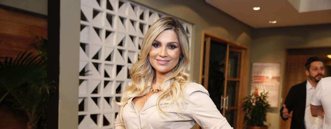 O elenco de 'Além do Horizonte' participou da coletiva de imprensa da nova novela das sete, da Globo, nesta terça-feira (15).Na foto, Flávia Alessandra