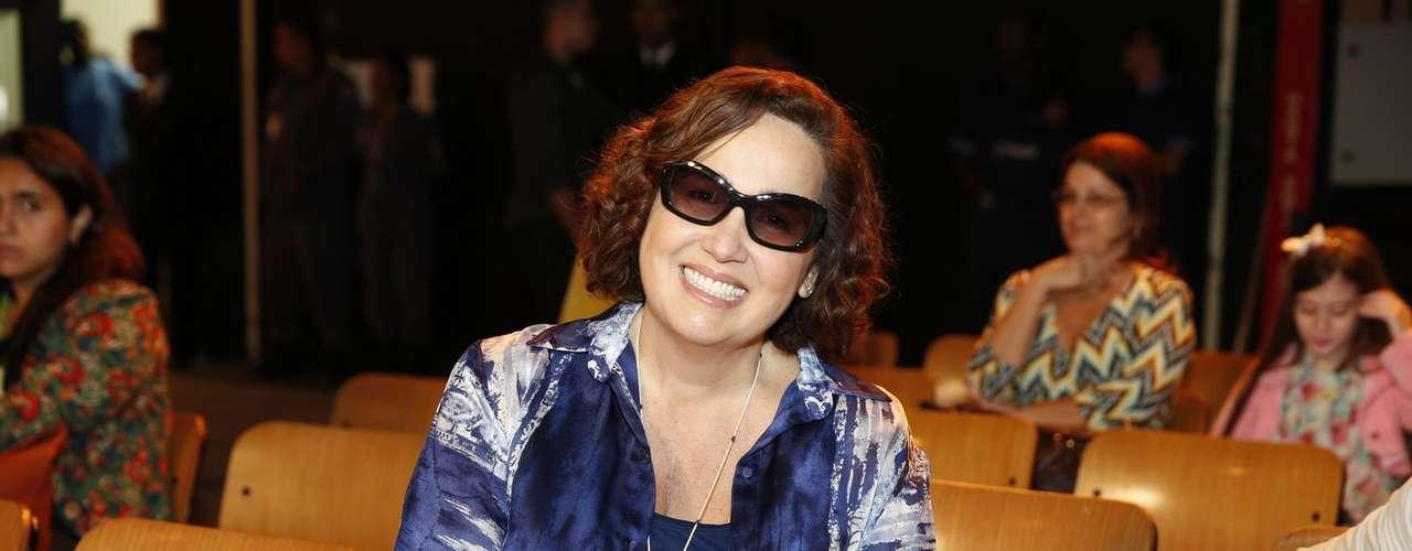 O elenco de 'Além do Horizonte' participou da coletiva de imprensa da nova novela das sete, da Globo, nesta terça-feira (15). Na foto, Claudia Jimenez