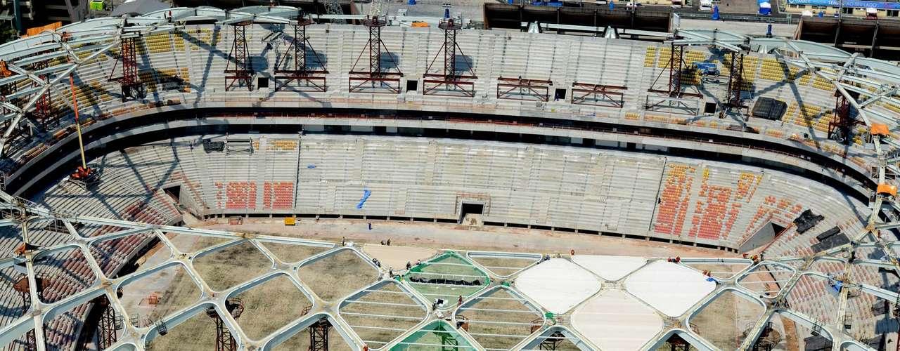 29 de outubro:Membrana que dará o formato final da arena foi inspirada em elementos regionais da Amazônia