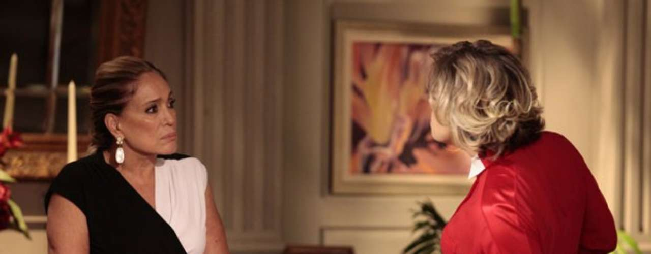 Ao saber que Jonathan (Thalles Cabral) é filho de César (Antonio Fagundes), Pilar (Susana Viera) não se controla e parte para cima de Edith (Bárbara Paz)