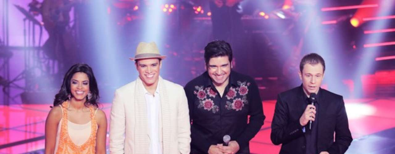 Lucy Alves, Marcos Lessa e Rodrigo Castellani, do time de Carlinhos Brown