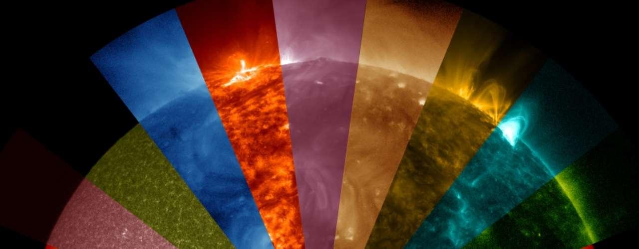 18 de dezembro -  Um telescópio do Observatório Solar Dinâmico da Nasa capturou uma série de imagens que mostram um arco-íris de ondas solares invisíveis a olho nu.O amarelo, por exemplo, mostra material a 5.700°C - a superfície da estrela. O ultravioleta extremo (em verde) mostra átomos a 6.300.000°C e é bom para registrar erupções solares.