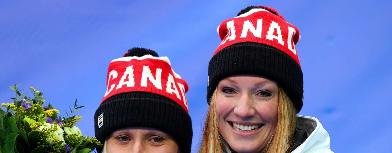 As canadenses Kaillie Humphries e Heather Moyse preferiram usar touca com o cabelo solto
