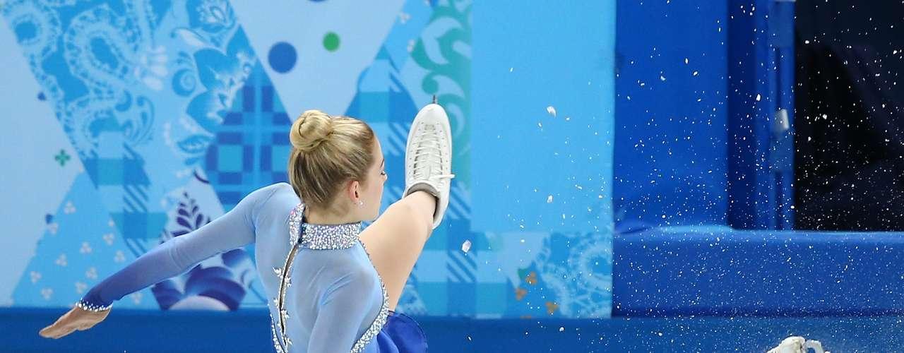 Coque bem no alto da cabeça foi a opção da atleta dos Estados Unidos na competição de patins