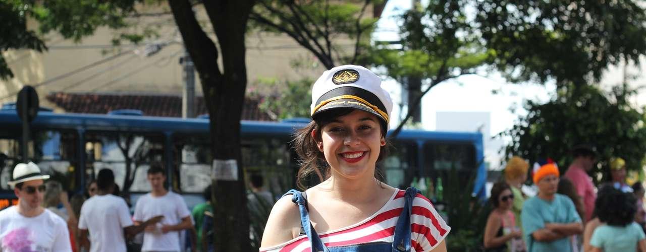 A marinheira distribuiu sorrisos no desfile