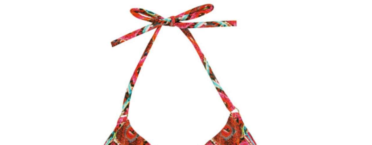 Sutiã estampado tipo triângulo com tirinha da Cia Marítima. R$ 98. SAC: (11) 3078-7546