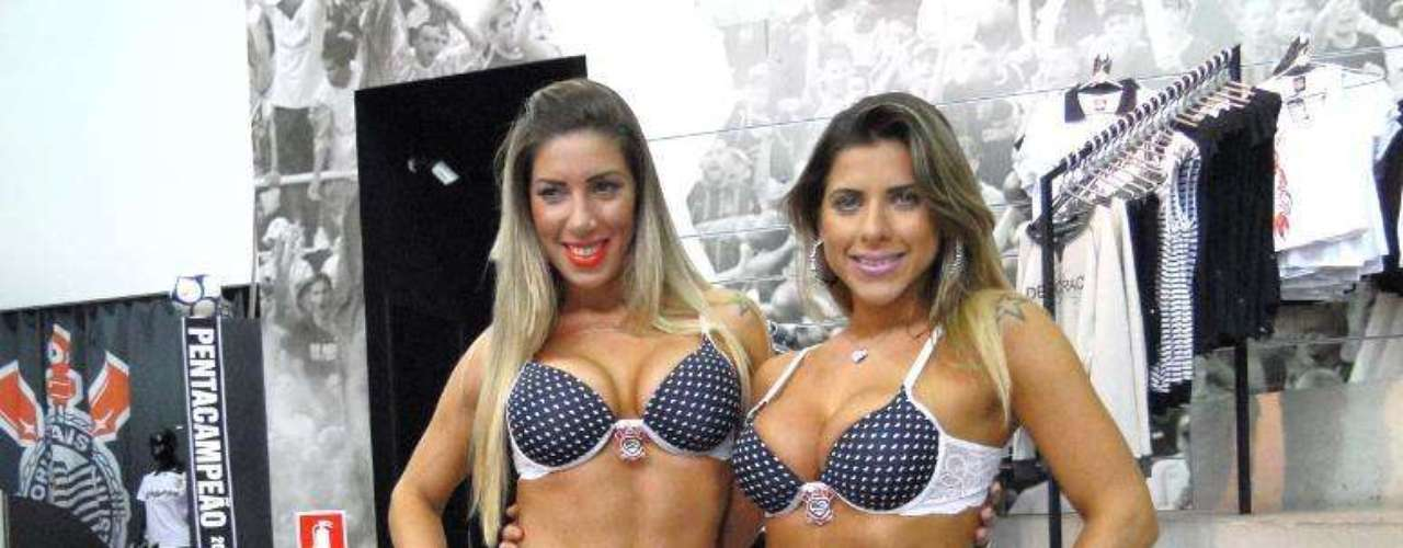 As irmãs Ana Paula Minerato e Tatiane Minerato lançaram a nova coleção de lingeries do Corinthians