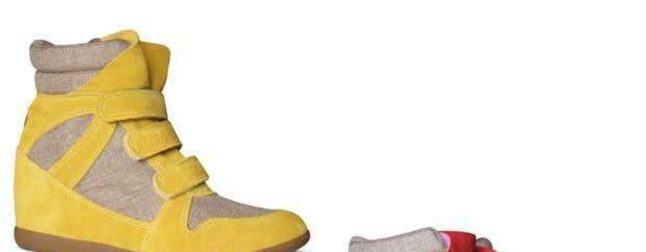 Em linho e camurça, o modelo da Hetane vem nas cores amarela e carmim. Preço sugerido: R$ 299. Informações: (51) 3549-9000