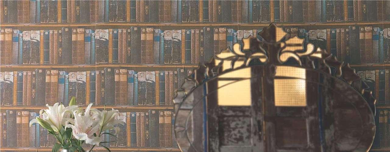 Esse tecido, produzido pela Karsten, imita a disposição de livros em prateleiras de bibliotecas. Informações: www.karsten.com.br