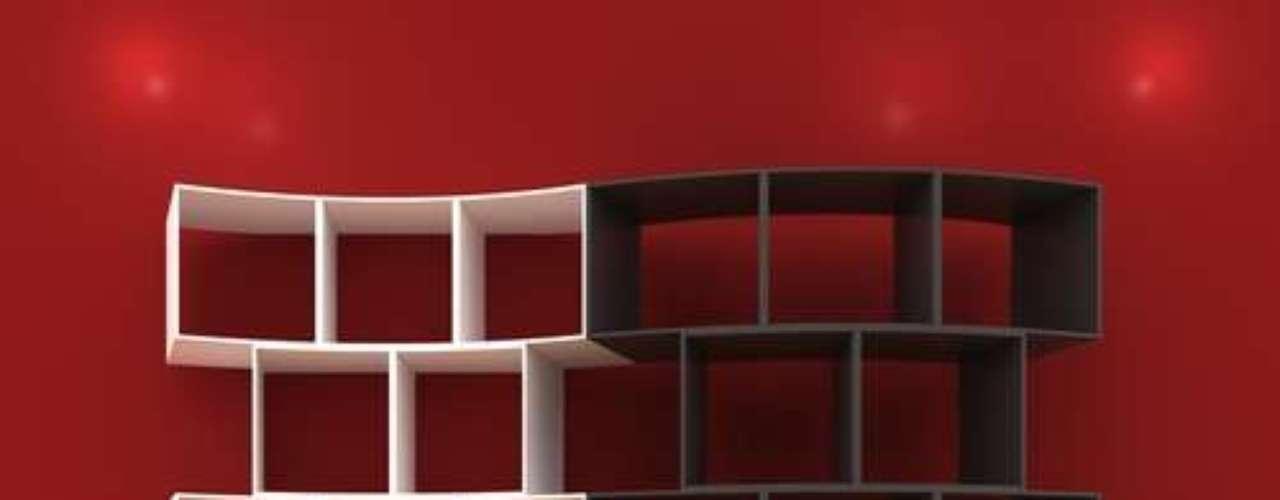 Linhas curvas, sobretudo quando não usadas em estantes de canto, emprestam charme especial ao móvel