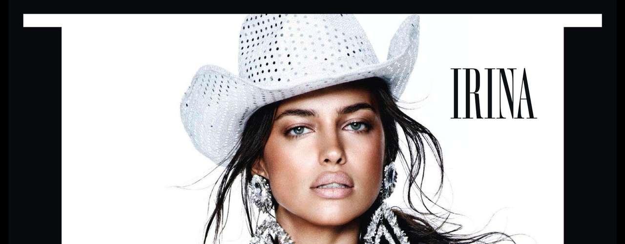 A modelo Irina Shayk, namorada do jogador de futebol Cristiano Ronaldo, também integrou o editorial