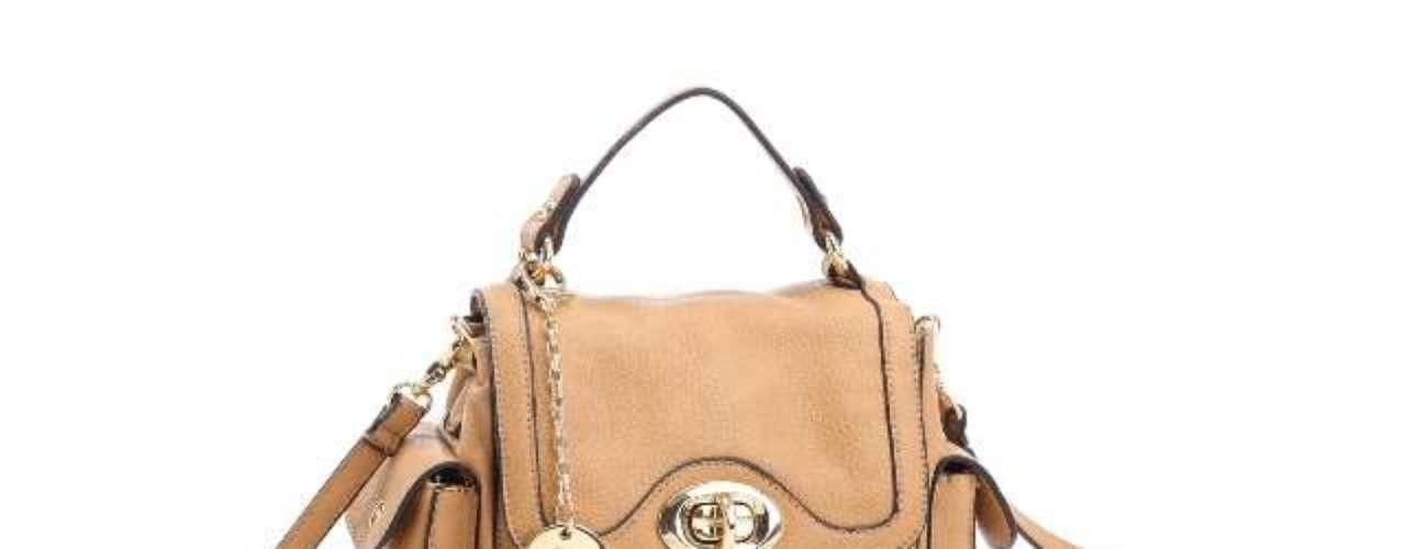 Bolsa bege em tamanho médio da linha Adriane Galisteu Bag Collection