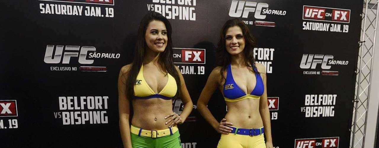 Aline e Camila demonstraram algum conhecimento sobre o mundo das lutas, mas não exibiram falando a mesma facilidade que têm fazendo poses